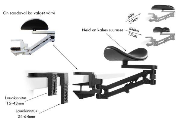 Ergorest käetugi käsivarretugi ergonoomiline käetugi kontor arvutitöö kuvar ergoway ergonoom eur erg ergonomika