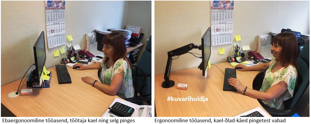ergonoomika kuvarihoidja Ergoway ergonoomika monitorihoidja kuvarihoidja mugav töökoha kael ei ole kange valu puudub töövõime hea töövõime ergonoom triinu sirge
